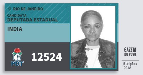 Santinho India 12524 (PDT) Deputada Estadual | Rio de Janeiro | Eleições 2018