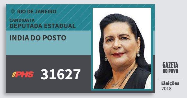 Santinho India do Posto 31627 (PHS) Deputada Estadual | Rio de Janeiro | Eleições 2018