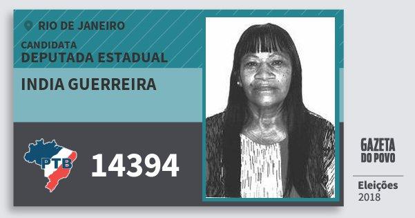 Santinho India Guerreira 14394 (PTB) Deputada Estadual | Rio de Janeiro | Eleições 2018