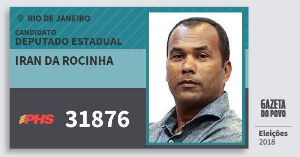Santinho Iran da Rocinha 31876 (PHS) Deputado Estadual | Rio de Janeiro | Eleições 2018