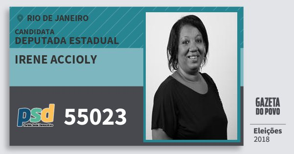 Santinho Irene Accioly 55023 (PSD) Deputada Estadual | Rio de Janeiro | Eleições 2018