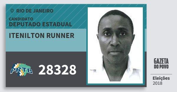 Santinho Itenilton Runner 28328 (PRTB) Deputado Estadual | Rio de Janeiro | Eleições 2018