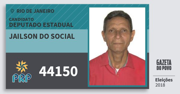Santinho Jailson do Social 44150 (PRP) Deputado Estadual | Rio de Janeiro | Eleições 2018