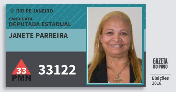 Santinho Janete Parreira 33122 (PMN) Deputada Estadual | Rio de Janeiro | Eleições 2018