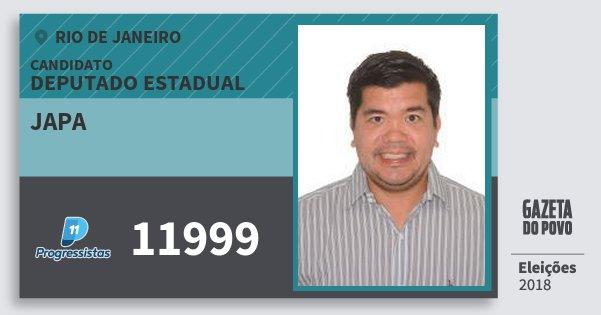 Santinho Japa 11999 (PP) Deputado Estadual | Rio de Janeiro | Eleições 2018