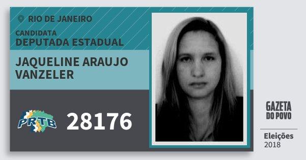 Santinho Jaqueline Araujo Vanzeler 28176 (PRTB) Deputada Estadual | Rio de Janeiro | Eleições 2018