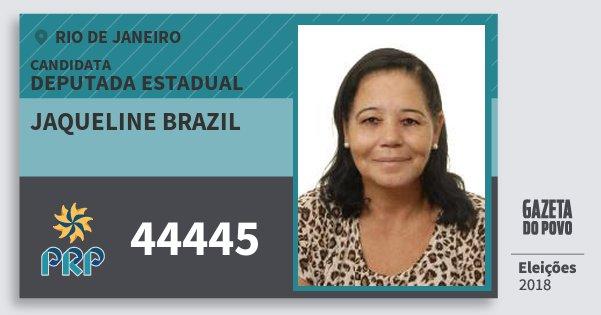 Santinho Jaqueline Brazil 44445 (PRP) Deputada Estadual | Rio de Janeiro | Eleições 2018