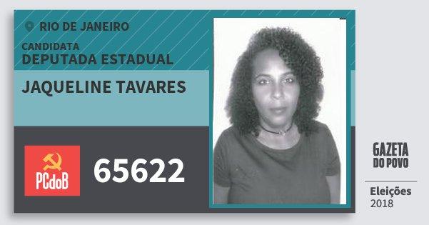 Santinho Jaqueline Tavares 65622 (PC do B) Deputada Estadual | Rio de Janeiro | Eleições 2018