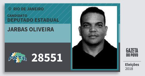 Santinho Jarbas Oliveira 28551 (PRTB) Deputado Estadual | Rio de Janeiro | Eleições 2018