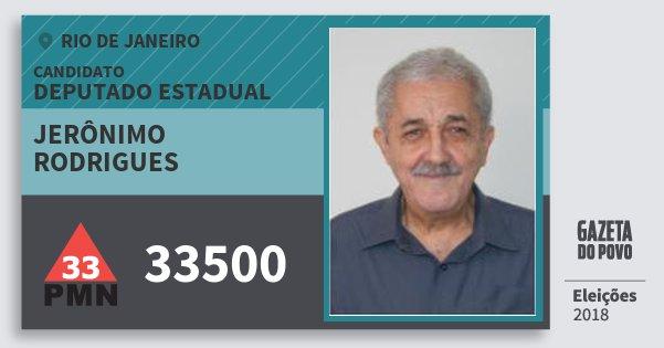 Santinho Jerônimo Rodrigues 33500 (PMN) Deputado Estadual | Rio de Janeiro | Eleições 2018