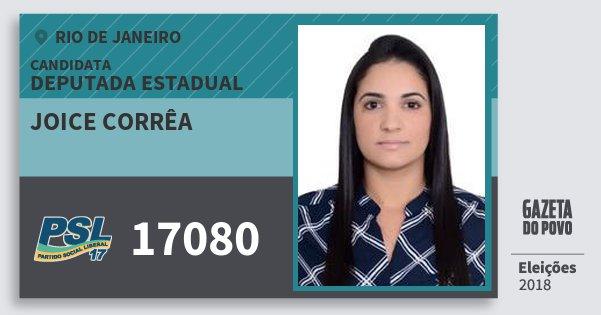 Santinho Joice Corrêa 17080 (PSL) Deputada Estadual | Rio de Janeiro | Eleições 2018