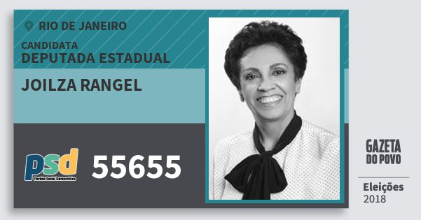 Santinho Joilza Rangel 55655 (PSD) Deputada Estadual | Rio de Janeiro | Eleições 2018