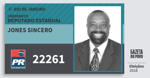 Santinho Jones Sincero 22261 (PR) Deputado Estadual | Rio de Janeiro | Eleições 2018