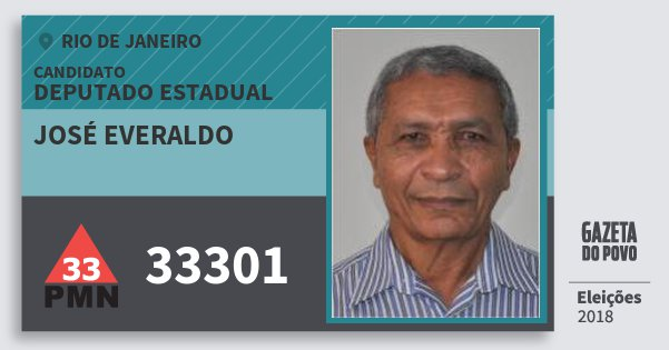 Santinho José Everaldo 33301 (PMN) Deputado Estadual | Rio de Janeiro | Eleições 2018