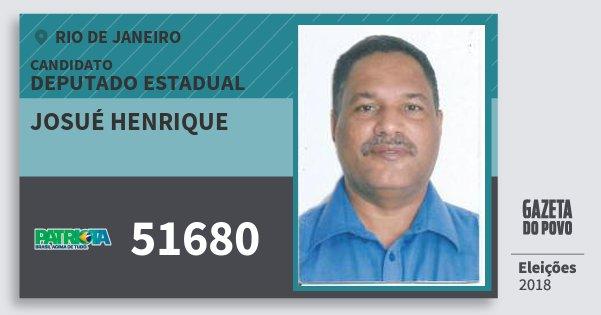 Santinho Josué Henrique 51680 (PATRI) Deputado Estadual | Rio de Janeiro | Eleições 2018