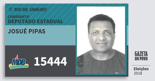 Santinho Josué Pipas 15444 (MDB) Deputado Estadual | Rio de Janeiro | Eleições 2018