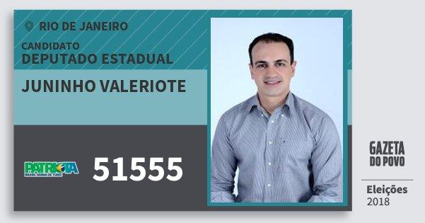 Santinho Juninho Valeriote 51555 (PATRI) Deputado Estadual | Rio de Janeiro | Eleições 2018