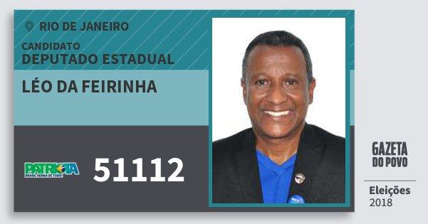 Santinho Léo da Feirinha 51112 (PATRI) Deputado Estadual | Rio de Janeiro | Eleições 2018