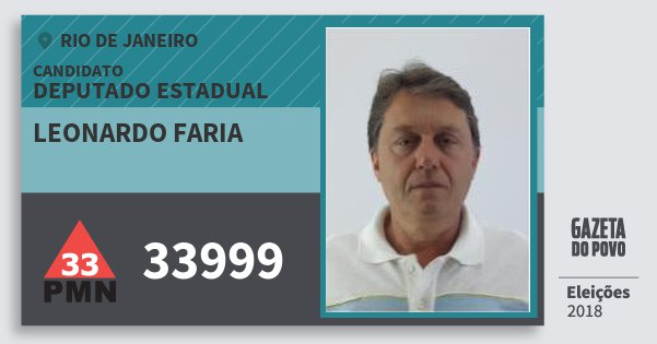 Santinho Leonardo Faria 33999 (PMN) Deputado Estadual | Rio de Janeiro | Eleições 2018