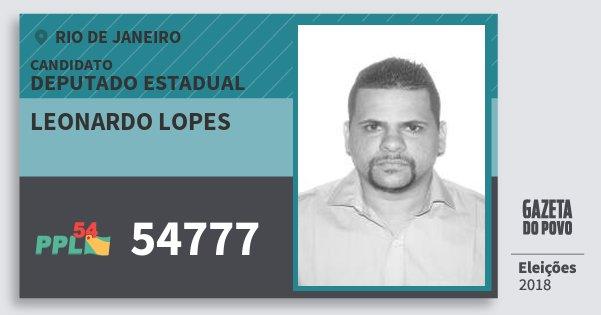 Santinho Leonardo Lopes 54777 (PPL) Deputado Estadual | Rio de Janeiro | Eleições 2018