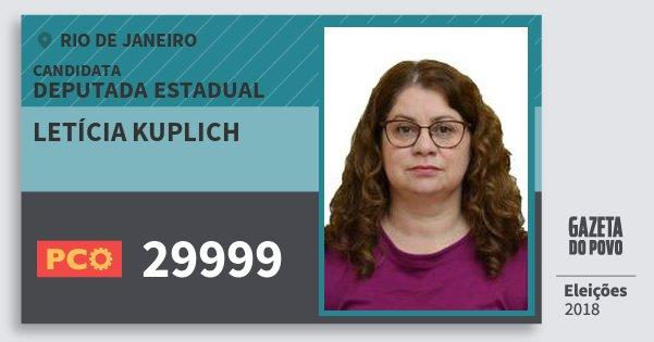 Santinho Letícia Kuplich 29999 (PCO) Deputada Estadual | Rio de Janeiro | Eleições 2018