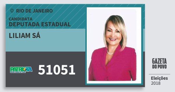Santinho Liliam Sá 51051 (PATRI) Deputada Estadual   Rio de Janeiro   Eleições 2018