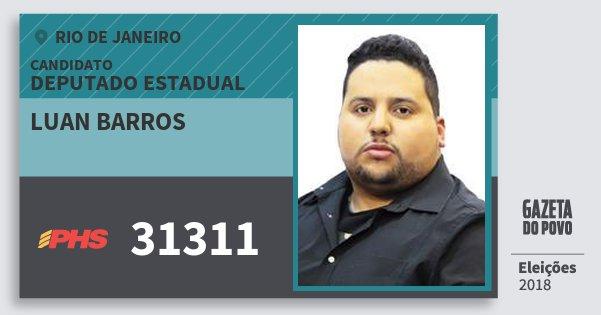 Santinho Luan Barros 31311 (PHS) Deputado Estadual | Rio de Janeiro | Eleições 2018