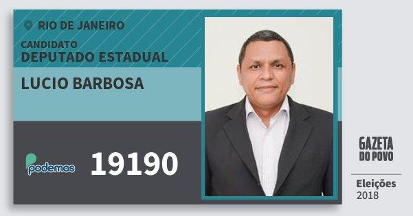 Santinho Lucio Barbosa 19190 (PODE) Deputado Estadual | Rio de Janeiro | Eleições 2018