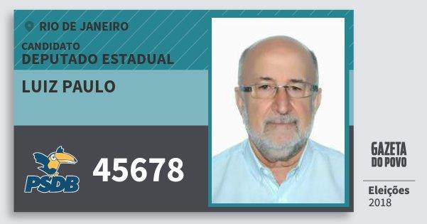 Santinho Luiz Paulo 45678 (PSDB) Deputado Estadual | Rio de Janeiro | Eleições 2018
