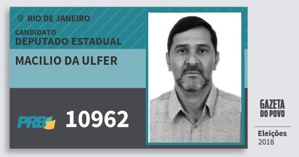 Santinho Macilio da Ulfer 10962 (PRB) Deputado Estadual   Rio de Janeiro   Eleições 2018