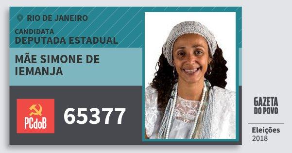 Santinho Mãe Simone de Iemanja 65377 (PC do B) Deputada Estadual | Rio de Janeiro | Eleições 2018