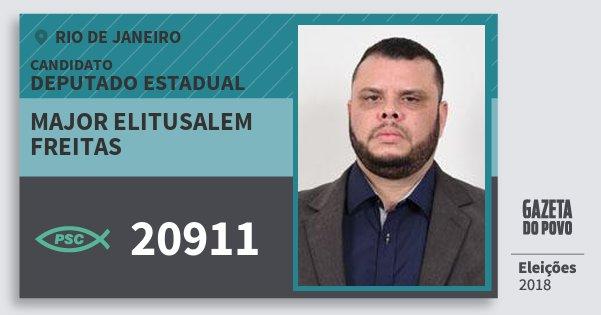Santinho Major Elitusalem Freitas 20911 (PSC) Deputado Estadual | Rio de Janeiro | Eleições 2018
