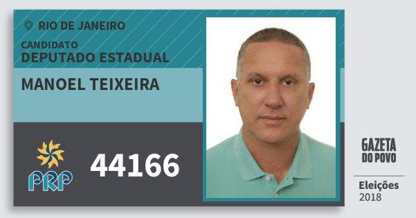 Santinho Manoel Teixeira 44166 (PRP) Deputado Estadual | Rio de Janeiro | Eleições 2018