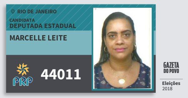 Santinho Marcelle Leite 44011 (PRP) Deputada Estadual   Rio de Janeiro   Eleições 2018