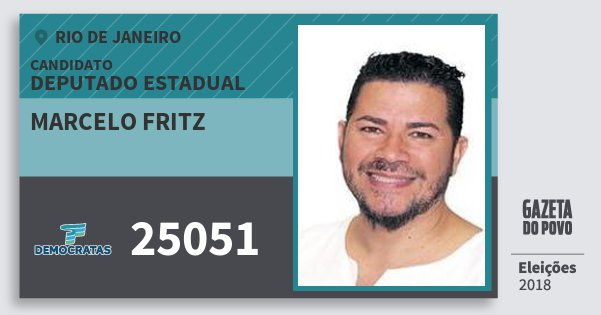 Santinho Marcelo Fritz 25051 (DEM) Deputado Estadual | Rio de Janeiro | Eleições 2018