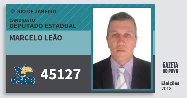 Santinho Marcelo Leão 45127 (PSDB) Deputado Estadual | Rio de Janeiro | Eleições 2018