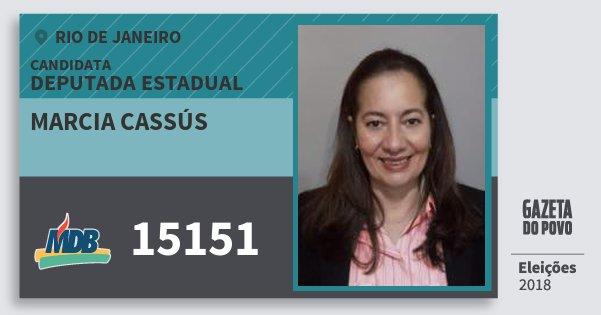 Santinho Marcia Cassús 15151 (MDB) Deputada Estadual | Rio de Janeiro | Eleições 2018