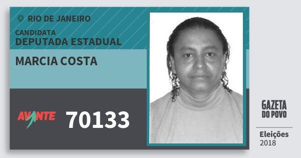 Santinho Marcia Costa 70133 (AVANTE) Deputada Estadual | Rio de Janeiro | Eleições 2018