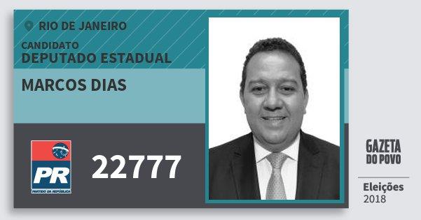 Santinho Marcos Dias 22777 (PR) Deputado Estadual | Rio de Janeiro | Eleições 2018