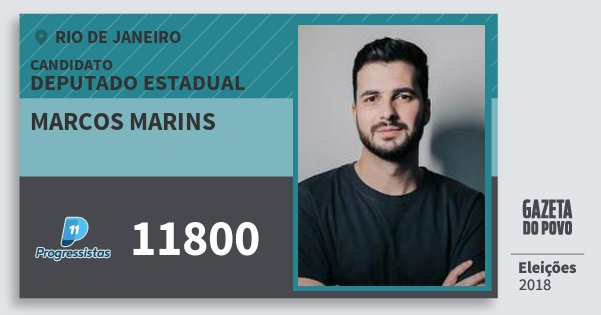 Santinho Marcos Marins 11800 (PP) Deputado Estadual | Rio de Janeiro | Eleições 2018