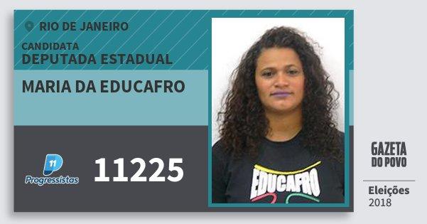 Santinho Maria da Educafro 11225 (PP) Deputada Estadual | Rio de Janeiro | Eleições 2018