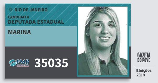Santinho Marina 35035 (PMB) Deputada Estadual | Rio de Janeiro | Eleições 2018