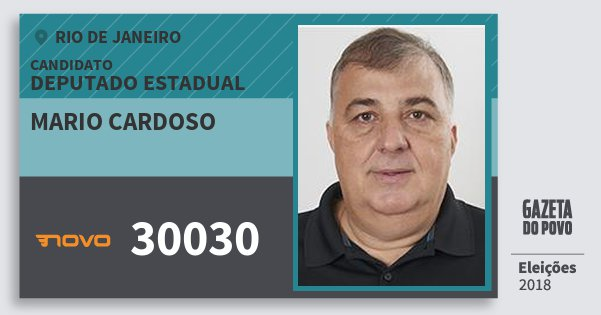 Santinho Mario Cardoso 30030 (NOVO) Deputado Estadual | Rio de Janeiro | Eleições 2018
