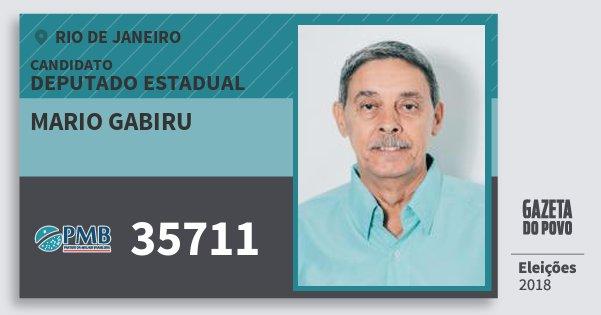 Santinho Mario Gabiru 35711 (PMB) Deputado Estadual | Rio de Janeiro | Eleições 2018