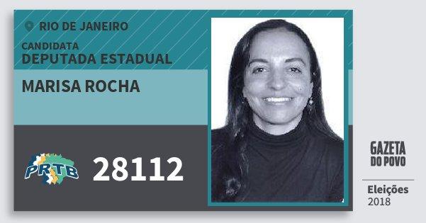 Santinho Marisa Rocha 28112 (PRTB) Deputada Estadual | Rio de Janeiro | Eleições 2018
