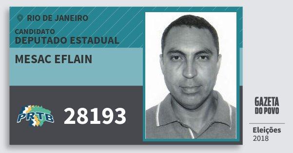 Santinho Mesac Eflain 28193 (PRTB) Deputado Estadual | Rio de Janeiro | Eleições 2018