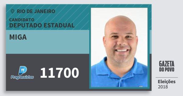 Santinho Miga 11700 (PP) Deputado Estadual   Rio de Janeiro   Eleições 2018