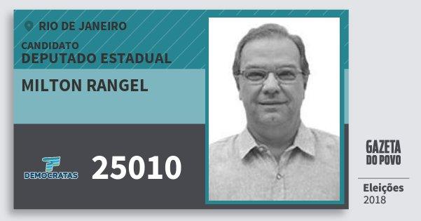 Santinho Milton Rangel 25010 (DEM) Deputado Estadual | Rio de Janeiro | Eleições 2018