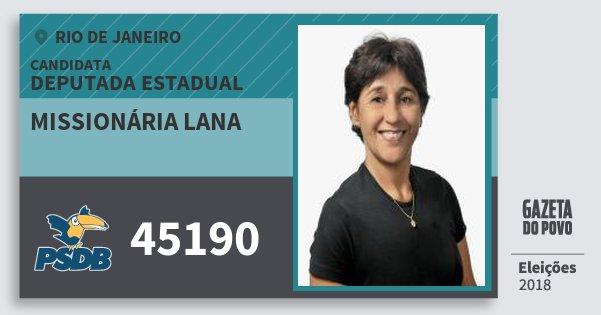 Santinho Missionária Lana 45190 (PSDB) Deputada Estadual   Rio de Janeiro   Eleições 2018