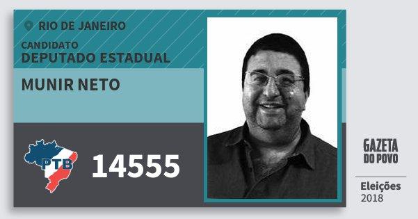 Santinho Munir Neto 14555 (PTB) Deputado Estadual | Rio de Janeiro | Eleições 2018